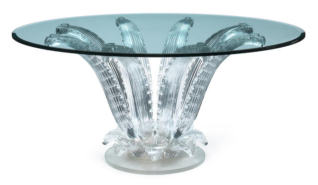 A Marc Lalique molded glass and chromed metal Cactus table designed 1951, this model later executed