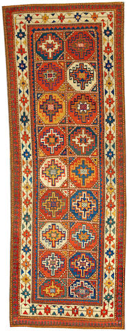 A Moghan Kazak runner Caucasus size approximately 3ft. 9in. x 10ft. 5in.