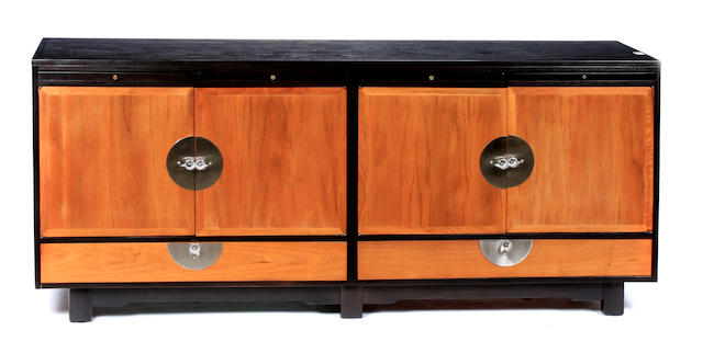 A Contemporary part ebonized credenza