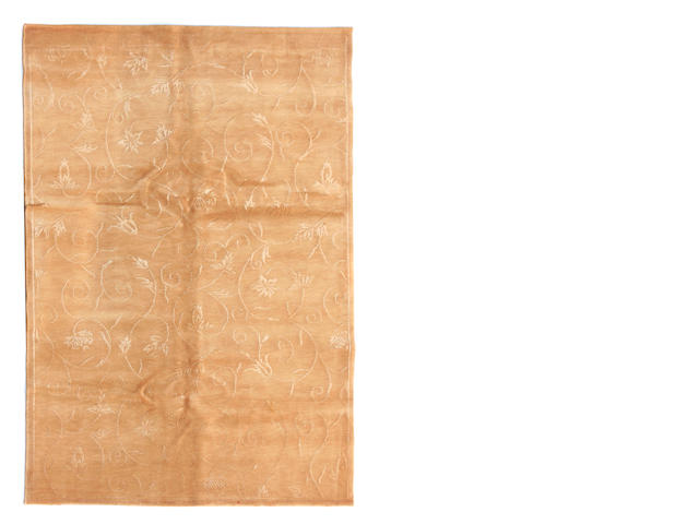 A fine silk Tibetan rug