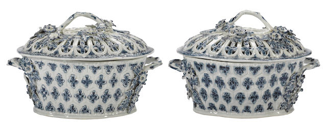 A pair of Worcester blue and white porcelain two-handled chestnut baskets and covers <br>circa 1780