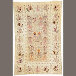 A Isphahan Embroidery  Central Persia size approximately 4ft. 10in. x 7ft. 6in.