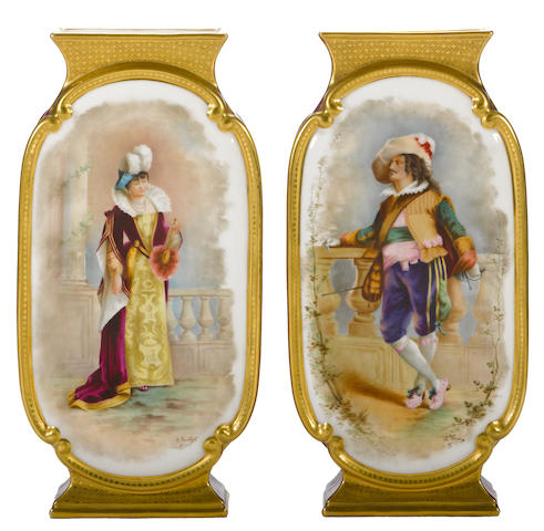 A pair of French polychrome and gilt decorated porcelain vases<br>third quarter [late] 19th century