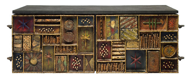 A Paul Evans welded, gilt and enameled steel and slate wall-mounted Sculpture-Front cabinet produced by Paul Evans Studio, 1972