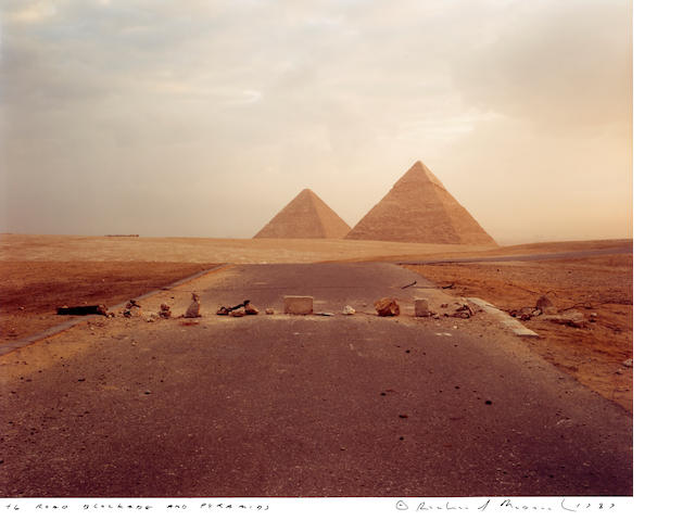 Richard Misrach (American, born 1949); Road Blockade and Pyramids;