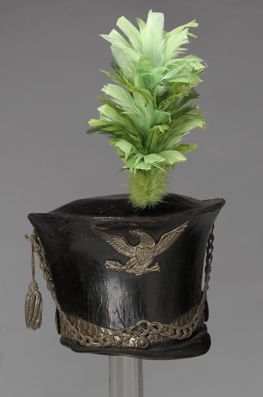 An 1821 pattern American militia infantry officer's bell-crowned shako