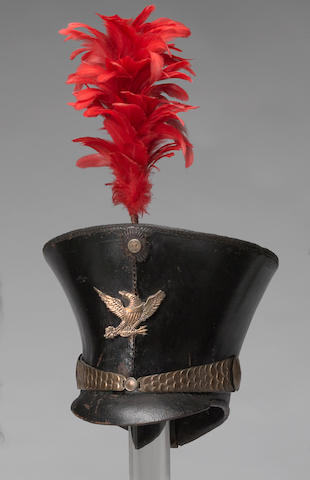 A New York militia infantry officer's bell-crowned shako