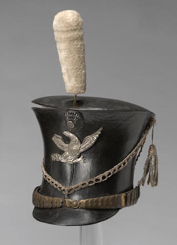 A New England 1821 Pattern militia infantry officer's bell-topped shako by Nathaniel March, Portsmouth, New Hampshire
