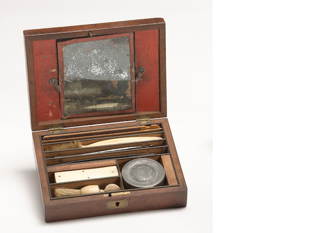 A cased  Civil War era soldier's toiletry set