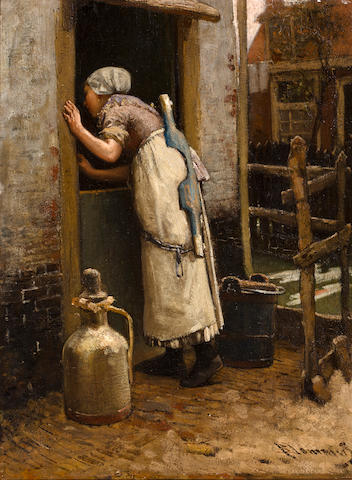 Bernardus Johannes Blommers (Dutch, 1845-1914) The milk maid 16 1/2 x 12 1/2in (42 x 32cm)