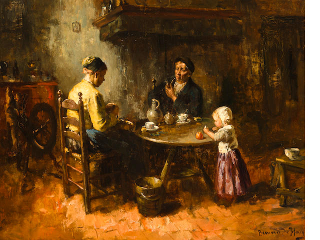 Bernard de Hoog (Dutch, 1867-1943) Preparing dinner 24 x 30in (61 x 76.2cm)