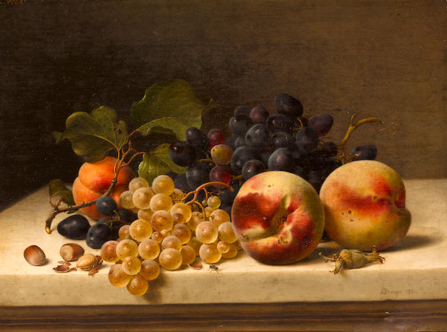 Johann Wilhelm Preyer (German, 1803-1889) A still life with peaches, grapes and hazelnuts 11 3/4 x 15 1/2in (30 x 39.5cm)