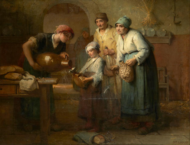 Désiré François Laugée (French, 1823-1896) Pouring the first wine 45 3/4 x 59 1/2in (116.2 x 151.1cm)
