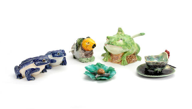An assembled group of Continental majolica  mid 20th century