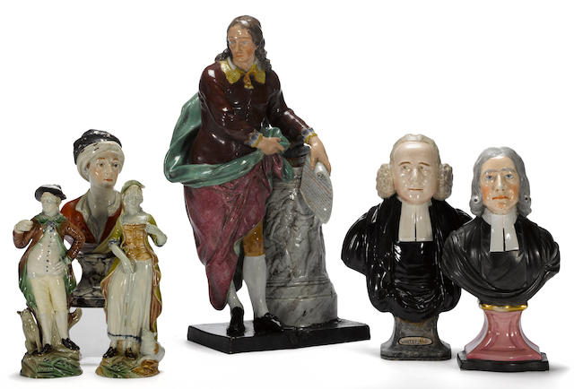 Two Staffordshire pottery portrait busts of clergymen <br>late 18th century