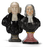 Two Staffordshire pottery portrait busts  of clergymen: John Whitefield and John Wesley  late 18th century