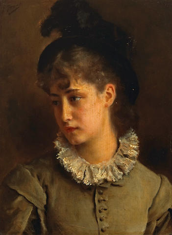 Gustave Jean Jacquet (French, 1846-1909) A solemn beauty 13 x 9 3/4in (33 x 24.8cm)