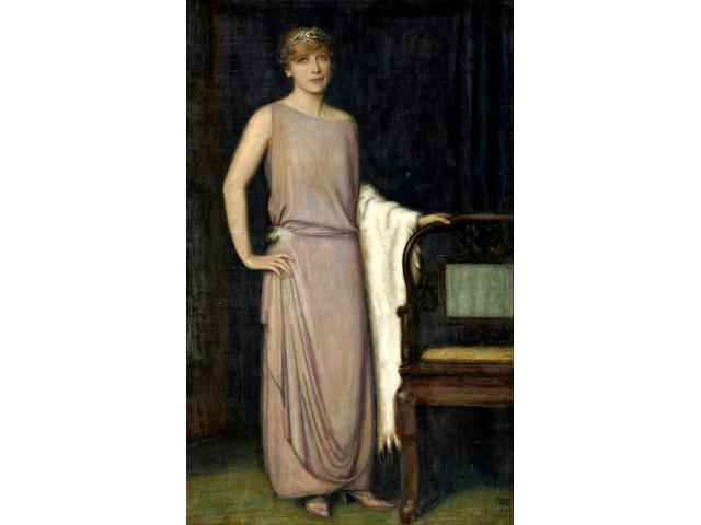 Franz von Stuck (German, 1863-1928) A portrait of Marianne Mechler 65 1/4 x 41in (165.7 x 104.1cm)