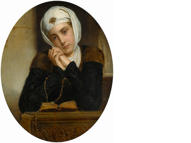 Henry Guillaume Schlesinger (French, 1814-1893) Lost in thought 28 3/4 x 23 1/2in (73 x 59.7cm)