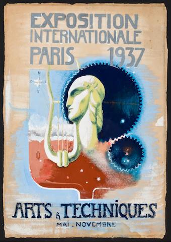 A rare 1937 Paris Exposition poster maquette circa 1936