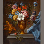 Italian School, 19th Century A still life of flowers in an urn; also a companion still life (a pair) each 22 x 18 3/4in (55.9 x 47.6cm)