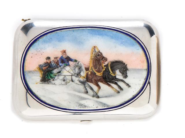 A silver and enamel cigarette case Gustav Klingert, Moscow, 1886