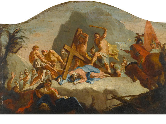 Austrian School, 18th Century The road to Calvary arched top, 12 x 17 1/2in (30.4 x 44.4cm)
