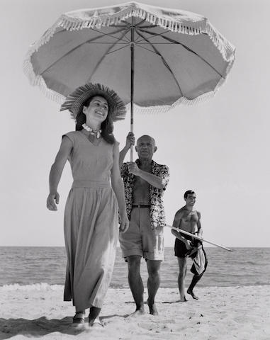 Robert Capa (Hungarian, 1913-1954); Picasso and Françoise Gilot, Golfe-Juan, France;