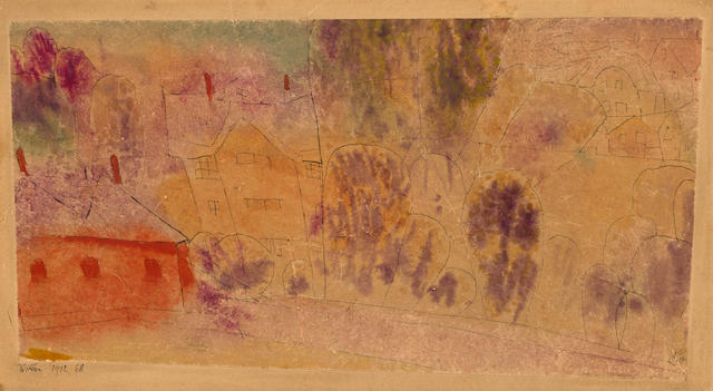 Paul Klee (Swiss, 1879-1940), AUTHENTICATING Villen, 1912 4 3/4 x 8 7/8in (12 x 22.5cm)