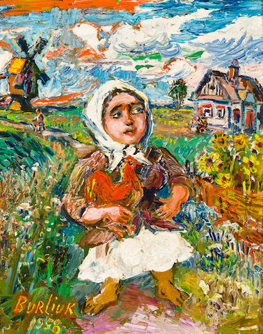 David Burliuk (Russian/American, 1882-1967) In the countryside 29 x 24cm (11 3/8 x 9 7/16in).