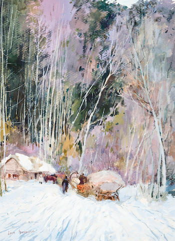 Leon Schulman Gaspard (Russian/American, 1882-1964) Winter sleigh ride through the forest 40 x 31cm (15 3/4 x 12 1/4in).