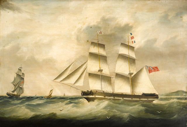 Joseph Heard (British, 1799-1859) The full-rigged 'James Ray' 27 3/4 x 40in