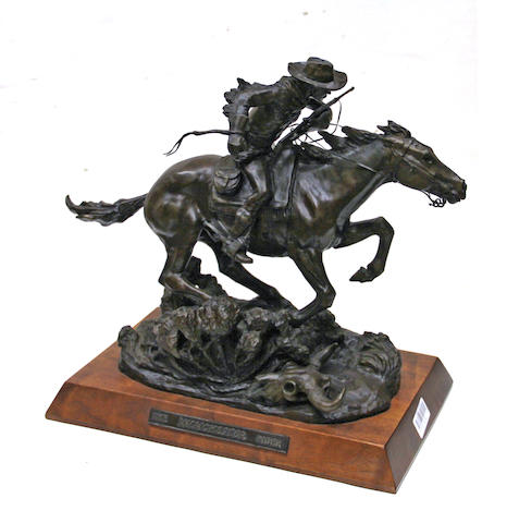 Bob Scriver (American, 1914-1999) The Winchester rider, 1979 height with base: 16 1/2in
