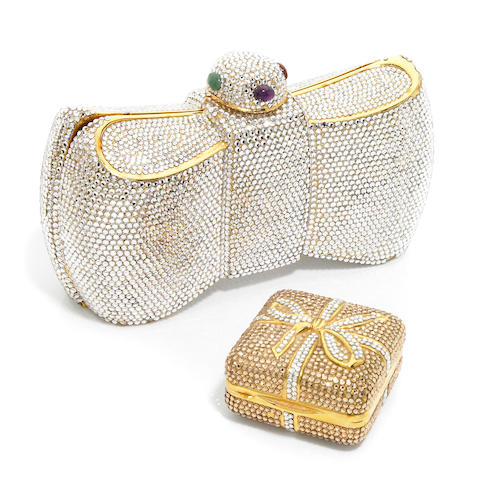 """A silver crystal and semi-precious bow purse together with a silver and gold crystal """"present"""" mini box,"""