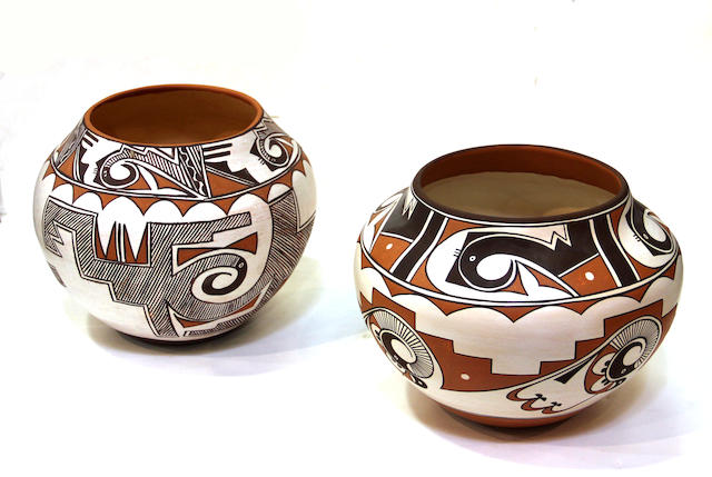 Two Pueblo polychrome jars