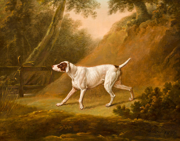 Thomas Freebairn Wilson (British, 19th Century) Brown and White Pointer 26 x 32 1/2 in. (66 x 82.5 cm.)