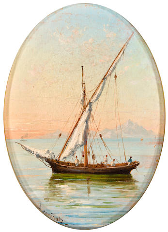Three small paintings: Sailboat, The Mouth of the Wick and Landscape with Figure