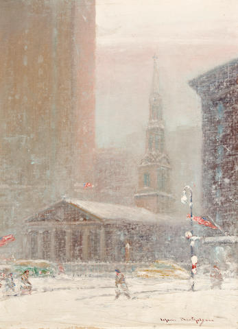 Johann Berthelsen (American, 1883-1972) St.Paul's Chapel, New York 16 x 12in