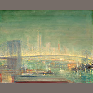 Johann Berthelsen, Brooklyn Bridge, oil on canvas