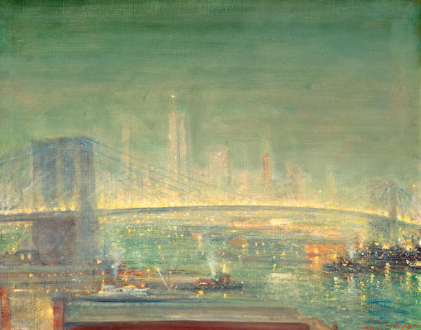 Johann Berthelsen (American, 1883-1972) Brooklyn Bridge with New York Skyline 24 x 30in