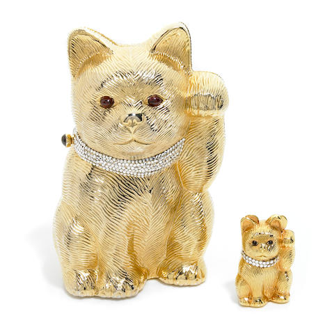 """A gold colored metal and silver crystal """"Maneki Neko"""" Good Fortune purse with matching pillbox,"""