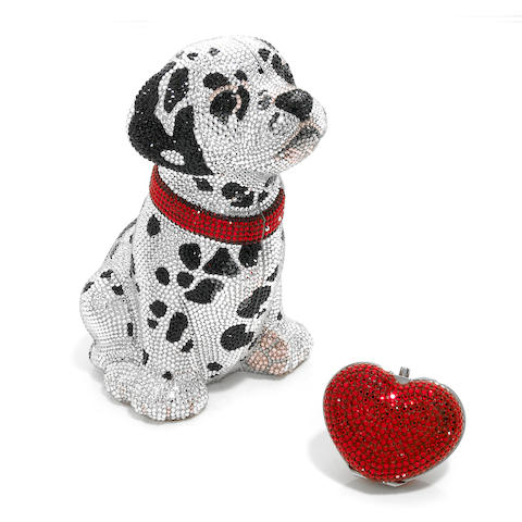A Dalmatian minaudiere together with a red crystal heart pillbox,
