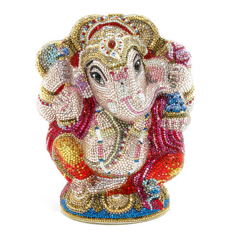 A multi-colored crystal Ganesh minaudiere,