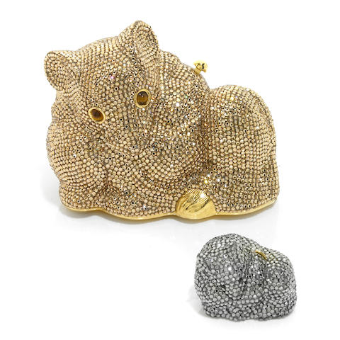 A gold crystal mouse minaudiere together with a silver crystal mouse pillbox,