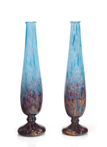 A pair of Schneider internally decorated glass vases circa 1920