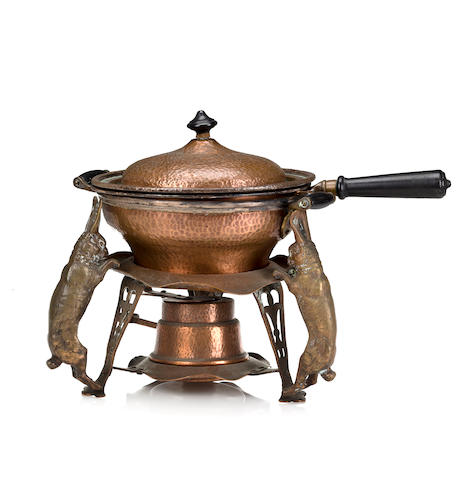 A Joseph Heinrichs silver, copper and wood Lapin chafing dish circa 1904