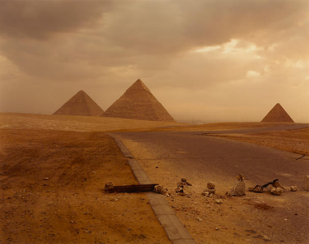 Richard Misrach 'Blockade and Pyramid, 1989'; dye coupler print, signed, dated, titled, and numbered 4/25 in ink in margin; 20 x 24in \\\\\\\\\\\\\\\\\\\\\\\\\\\
