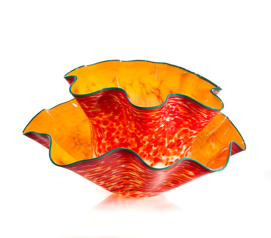 Dale Chihuly (American, born 1941) Cadmium Orange and Yellow Sea Form with Turquoise Lip Wrap