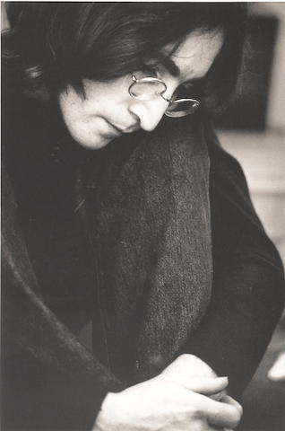 Ethan Russell, John Lennon, Listening to the White Album, 1968, Platinum-palladium print, Ed 35; John Lennon, Listening to the White Album;