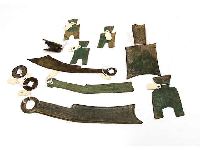 A group of eleven Chinese bronze archaic and archaistic coins
